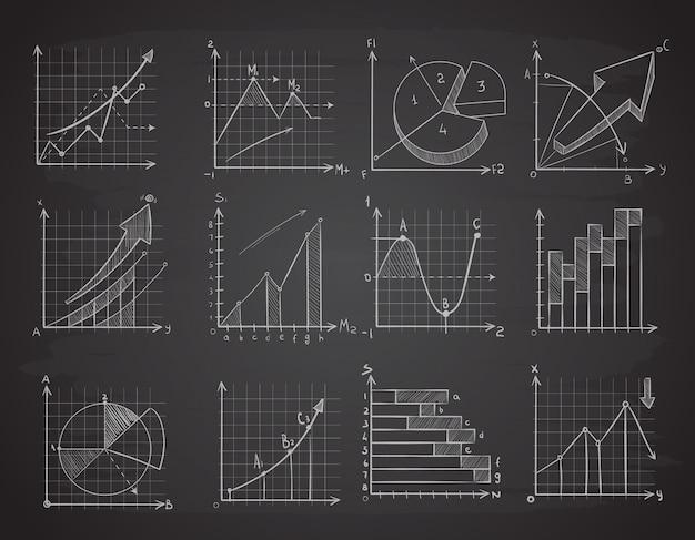 Grafici di dati di statistiche aziendali di disegno a mano