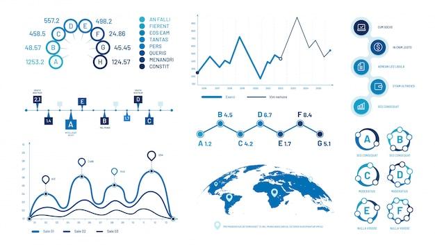 Grafici di infografica. grafici di dati dell'istogramma, grafico cronologico delle bolle ed insieme dell'illustrazione del diagramma