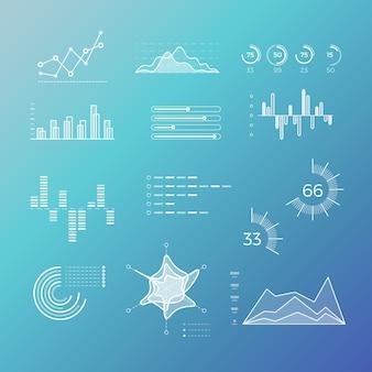 Grafici di vettore di linea sottile, grafici, diagrammi con elementi piani