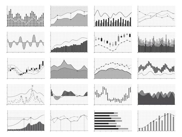 Grafici finanziari di analisi di riserva o grafici finanziari di dati di affari isolati