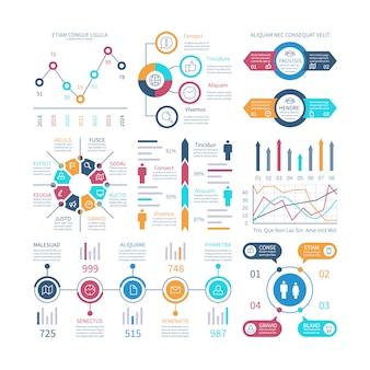 Grafici infografici. elementi di infochart, grafico di marketing e grafici, diagrammi a barre.