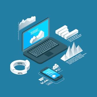 Grafici isometrici. computer portatile di concetto di affari con gli oggetti infographic di presentazione o di analisi dei dati di grafici dell'istogramma di dati 3d