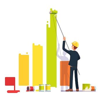 Grafico a barre di pittura dell'uomo di affari con vernice a rulli