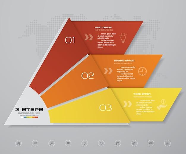 Grafico a piramide a 3 passaggi per la presentazione dei dati.