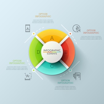 Grafico a torta circolare diviso in 4 settori con lettere uguali. concetto di menu del sito web rotondo con pulsanti colorati. layout design futuristico infografica.
