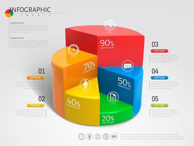 Grafico a torta infografica, grafico a torta di struttura in plastica con diversi colori nell'illustrazione
