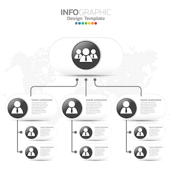 Grafico aziendale con icone di uomini d'affari.