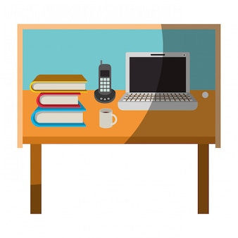 Grafico colorato di home office da scrivania di base senza contorno e mezza ombra