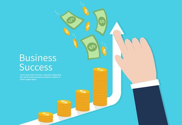Grafico crescente di affari. affari riusciti.