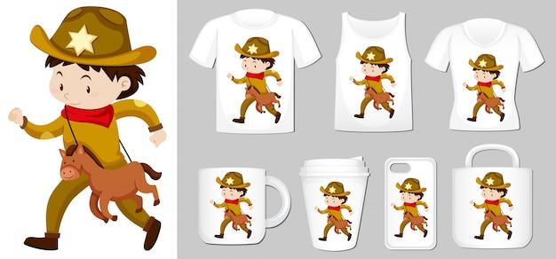 Grafico del cowboy su diversi tipi di modello di prodotto