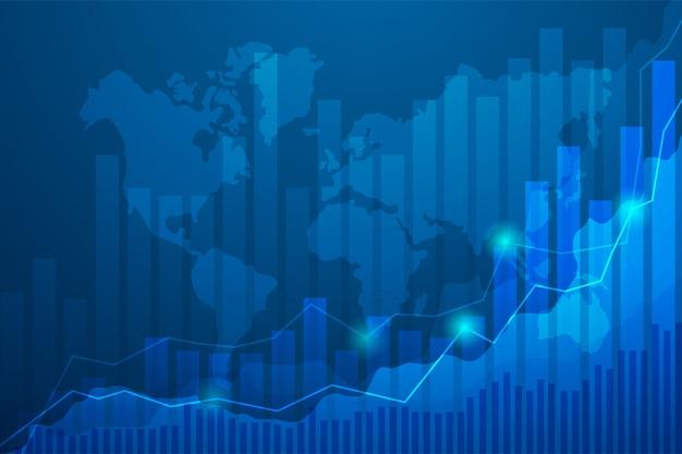 Grafico del grafico del bastone della candela di affari del commercio di investimento del mercato azionario sul fondo blu.