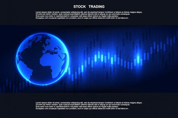 Grafico del grafico del bastone di candela nel mercato finanziario, commercio dei forex. mercato azionario di borsa, investimento, finanza e commercio. piattaforma di trading