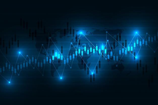 Grafico del mercato azionario o grafico di forex trading per concetti commerciali e finanziari, rapporti e investimenti su sfondo scuro.