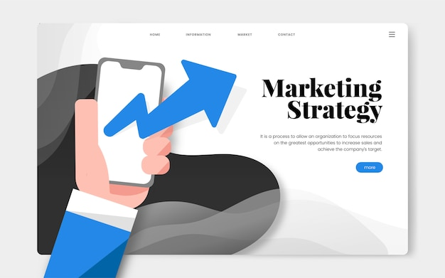 Grafico del sito web informativo della strategia di marketing