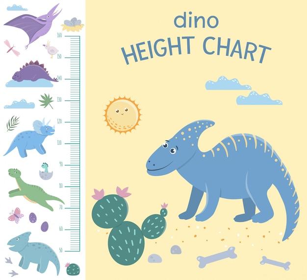 Grafico dell'altezza dei dinosauri. quadro con elementi preistorici dino per bambini. scala di misurazione con simpatici rettili.