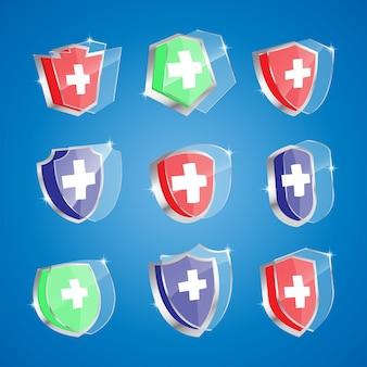 Grafico dell'illustrazione della protezione antibatterica o anti-virus. lo scudo sano riflette batteri o attacchi di virus.