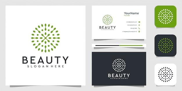 Grafico dell'illustrazione di logo del fiore della foglia in stile moderno. buono per piante, verde, marchio, pubblicità e biglietti da visita
