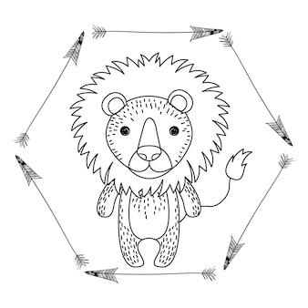 Grafico dell'illustrazione di vettore dell'icona di stile di boho animale del disegno