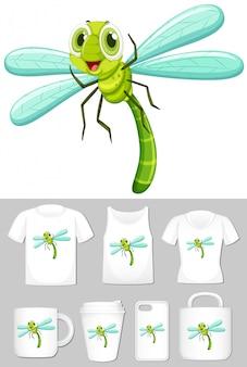 Grafico della libellula su diversi tipi di modello di prodotto