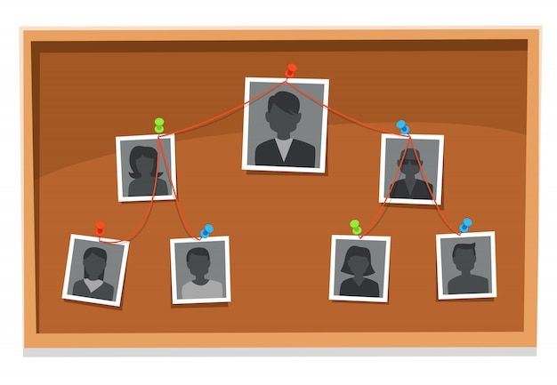 Grafico della struttura della squadra. il consiglio di amministrazione dei membri dell'azienda, le foto del gruppo di lavoro appuntate e i grafici dell'albero organizzativo ricercano l'illustrazione