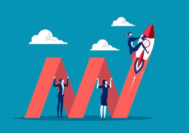 Grafico della tenuta di affari all'affare di crescita concetti dell'illustration per il business plan, la partenza, la creatività e l'innovazione.