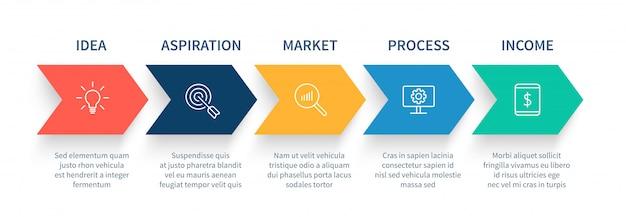 Grafico delle fasi del processo della freccia, frecce di punto di avvio di affari, diagramma di flusso di lavoro e concetto infographic delle fasi di successo