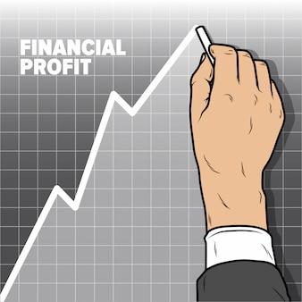 Grafico di aumento del disegno della mano di businessmans. declino del profitto e attività di vendita al ribasso