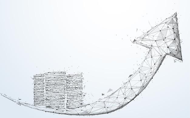 Grafico di crescita delle monete e della freccia, concetto di successo di affari