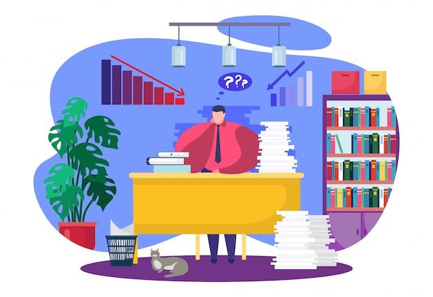 Grafico di declino di crisi finanziaria di affari, illustrazione. computer allo scrittorio dell'uomo d'affari, carattere della persona con lavoro di ufficio