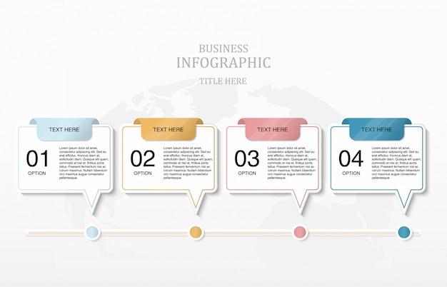 Grafico di processo del flusso di lavoro di quattro punti variopinti di carta.