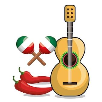 Grafico di simbolo messicano della chitarra e del peperoncino rosso di maraca