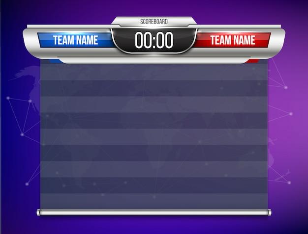 Grafico di trasmissione sportiva tabellone segnapunti digitale.