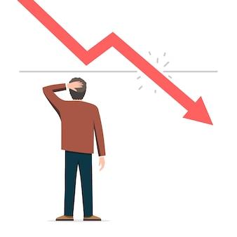 Grafico di uomo d'affari e recessione