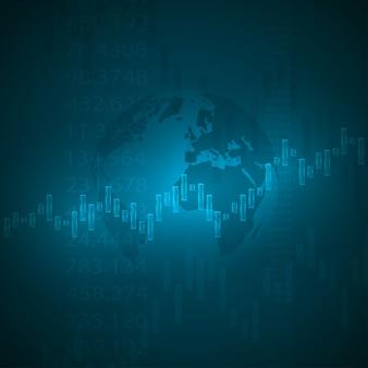 Grafico economico con diagrammi sul mercato azionario.