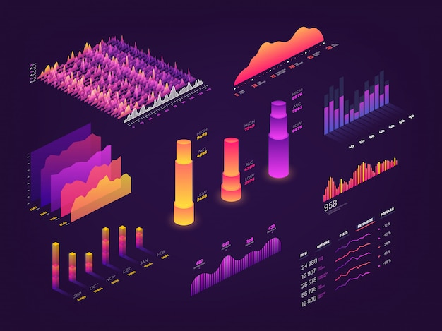 Grafico futuristico di dati isometrici 3d, grafici di affari, diagramma di statistiche ed elementi infographic