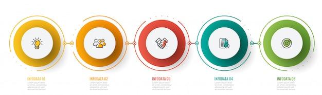 Grafico infografica timeline con icone di marketing e 5 passaggi, cerchi