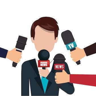 Grafico intervista microfono personaggio