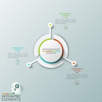Grafico tondo diviso in tre settori con parti sporgenti lunghe, pittogrammi a linea sottile e caselle di testo. tre caratteristiche principali del processo di sviluppo aziendale.