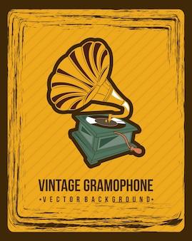 Grammofono sopra illustrazione vettoriale sfondo vintage