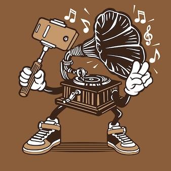 Grammofono vintage music player selfie character design