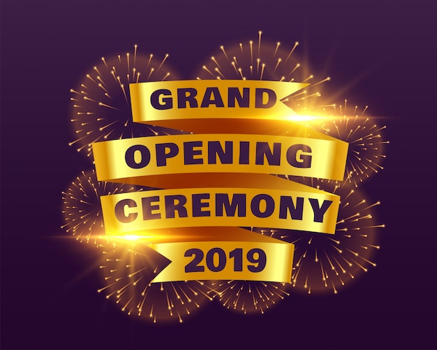 Gran cerimonia inaugurale 2019 con nastro dorato e fuochi d'artificio