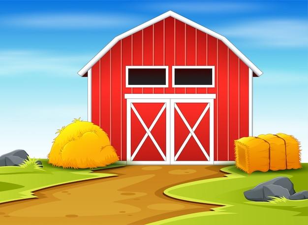 Granai e pagliaio rossi nell'illustrazione del terreno coltivabile