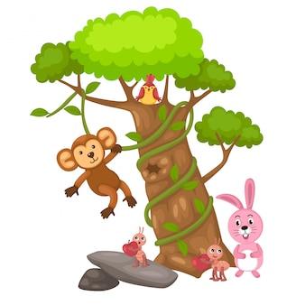 Grande albero e scimmia e uccello e coniglio e vettore formica