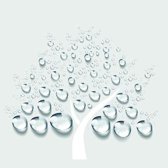 Grande albero segno acqua goccia vettoriale