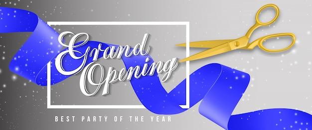 Grande apertura, la migliore festa dell'anno bandiera scintillante con cornice, forbici d'oro