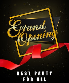 Grande apertura, miglior festa per tutti i poster festosi con cornice dorata e nastro rosso ondulato