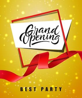 Grande apertura, miglior manifesto festa festivo con cornice e nastro rosso ondulato