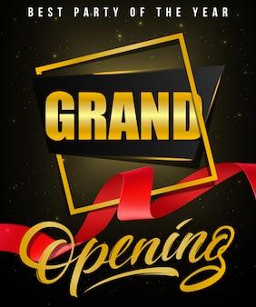 Grande apertura, poster festa festivo dell'anno con cornice dorata e nastro rosso ondulato