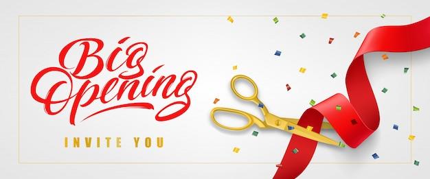 Grande apertura, vi invito banner festivo in cornice con confetti e forbici d'oro