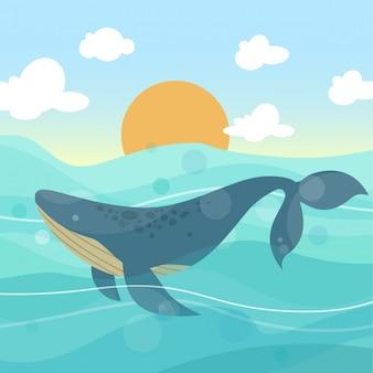 Grande balena nell'illustrazione di vettore dell'oceano